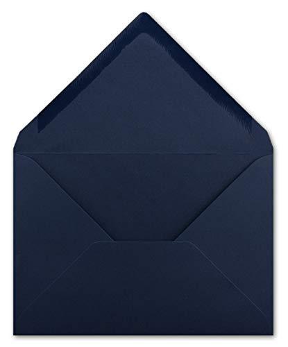 50 Briefumschläge DIN C6 Dunkelblau - 11,4 x 16,2 cm - Kuvert mit 100 g/m² Nassklebung spitze Klappe - Umschläge ohne Fenster - Colours-4-you