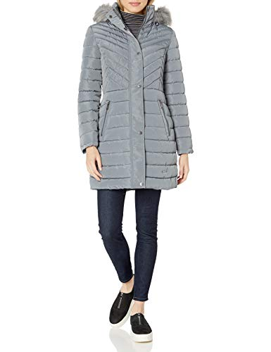 Kenneth Cole Women's Quilted Puffer Jacket with Faux Fur Trimmed Hood, Nickel, Medium