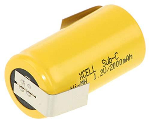 10x XCell SUB-C Akku Zelle - 2000mAh / 1,2V / NIMH mit Z-Lötfahne - Hochleistungs- Markenzelle in Industriequalität Gelb