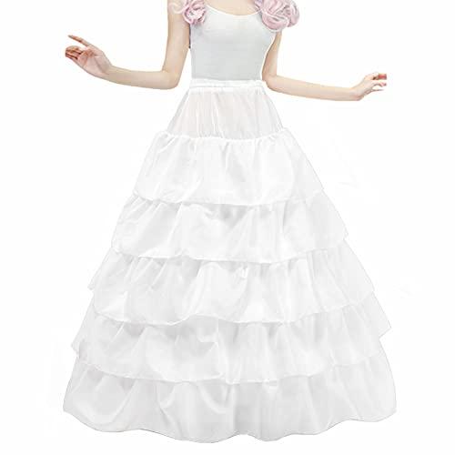 LONGBLE Reifrock Brautkleid Unterrock Petticoat Krinoline für Hochzeitskleider Ballkleider Barock Kleid Unterröcke - 4 Reifen 5 Rüschen (Weiß)