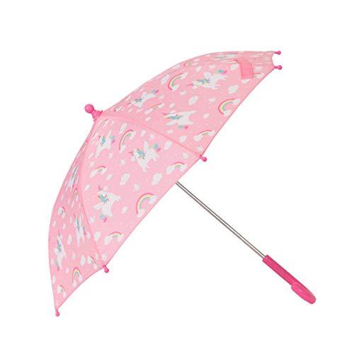 Sass & Belle - Ombrello per bambini, con disegno di unicorni e arcobaleni, colore rosa
