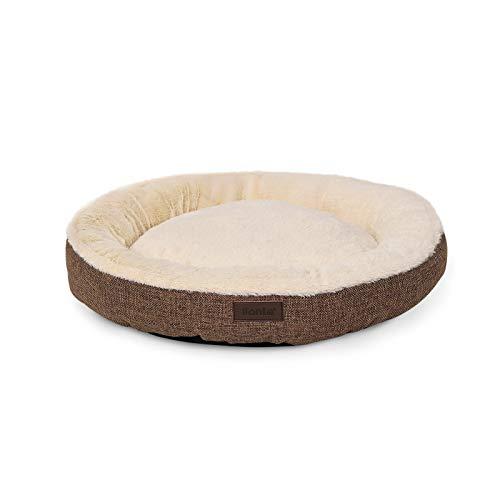Cama Redonda para Perros cojín para Perros sofá Perros Cama con Forma de Donut ((M) 65 cm Ø diámetro Externo, Marrón)