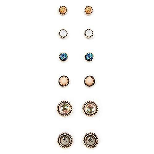 SONGAI 6Pairs Mujeres Bohemia Elegante Retro Simple Kyanite geométrica Pendientes ámbar Conjunto Partido de los Accesorios de la Boda joyería zarcillos, Nombre de Color: Multi (Color : Multi)