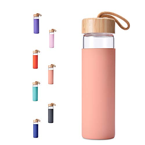 Yomious Borosilicate Glass Water Bottle with Bamboo Lid and Silicone Sleeve - 20 oz – BPA Free – Eco Friendly and Reusable – Leak Proof Design – Carry Strap Built Into Lid (Blooming Dahila)