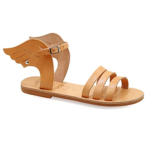 38 Beige Emmanuela Antike griechische Sandalen aus Leder mit verstellbarem Schnallenriemen, hochwertige handgefertigte Sommerschuhe für Damen, Riemchen Sandalen mit Flügeln