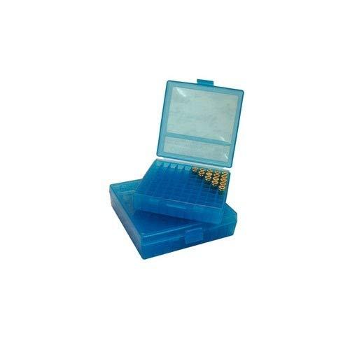 X-Targets MTM Patronen Aufbewahrungsbox aus Kunststoff mit Deckel / 9 mm Luger / 9x18 mm Makarov / 100 Schuss (Blau)