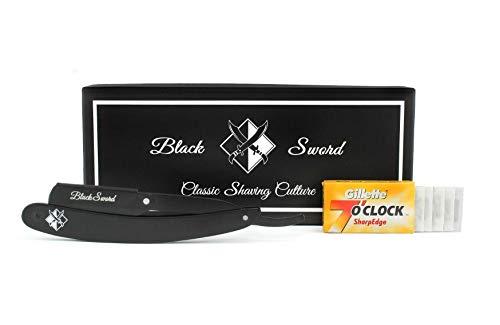 BlackSword Premium Rasiermesser | 10 halbe SharpEdge Rasierklingen | schwarzer Edelstahl