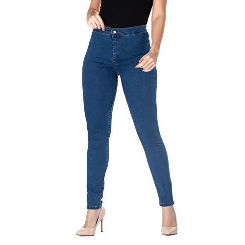 Jeggings de Cintura Alta para Mujer, Vaqueros cómodos de algodón ultraelástico, enfatiza Tus Curvas, Corte ceñido - Made in Italy (46, Medio)