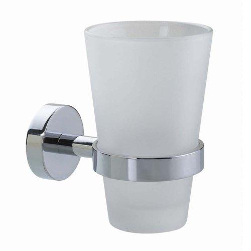 Nie Wieder Bohren Smooz Zahnputzbecherhalter, verchromt, satiniertes Glas, inkl. Klebelösung, belastbar bis 6kg, 125mm x 80mm x 115mm