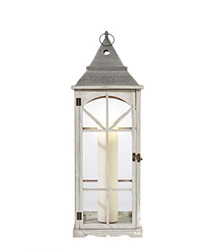 Dehner Laterne Abby,ca. 24.5 x 24.5 x 85 cm, Holz/Glas/Metall, weiß/grau