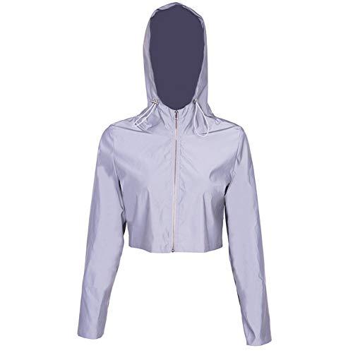 CAheadY Reflektierende Clubwear-Jacke für Damen Frauen Sport Freizeit Hip Hop Anzüge Shine at Night Hip-Hop-Tanzoutfits, Silber Luminous Color M