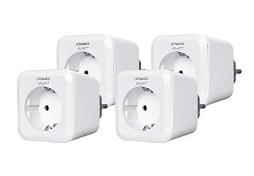 LEDVANCE Smart+ Plug, Bluetooth schaltbare Steckdose, fernbedienbar, für die Lichtsteuerung in Ihrem Smart Home, Kompatibel mit Apple Homekit und LEDVANCE Smart+ App für Android, 4er Pack