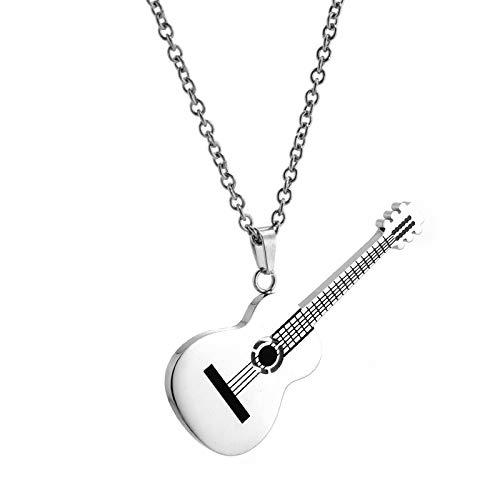 Joyería De Acero De TitanioInstrumento Musical Collar De Guitarra Hombre Hip Hop Boy AccesoriosColgantesJoyasChapadas EnOro De18 QuilatesPlata