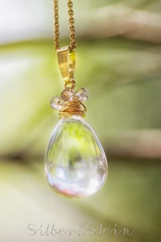 Großer vergoldeter Edelstein-Anhänger aus echtem Bergkristall in Tropfenform und Labradorit // mit oder ohne Kette // hochwertige Vergoldung // besonders klare allerbeste Stein-Qualität