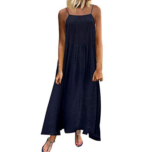 Damen Kleider Sommer Kurzarm O-Ausschnitt Gurt Weste Sexy Übergröße Kleider Strandkleid Blumendruck Nähte Kleid Polyester lässig Maxi-Kleid (EU:48, Marine)