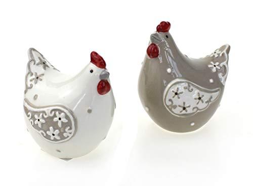 2 x Deko Figur Henne sitzend im Set 9 cm, aus Keramik weiß braun rot, Dekofigur Huhn Hühner für Frühling Sommer Ostern Osterdeko