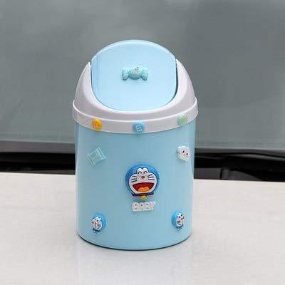 Mini Cubo de Basura de Escritorio, pequeño Bote de Basura abatible con Tapa, Mesa de Centro para Comedor, Coche, Color Azul, tintineo, 4L