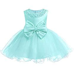 Green01 Tulle Tutu Baby Dress With Sequins & Beads