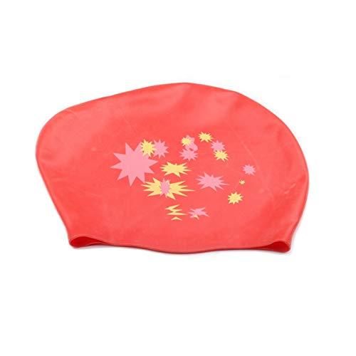 Cómodo Gorra de natación femenino de silicona grande impermeable a prueba de agua Piscina de la piscina Cap Pelo largo Ear Protección Elástica fuerte Elástico Equipo de buceo para niñas niños adolesce