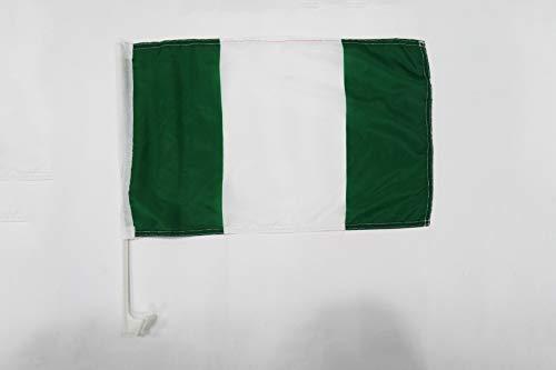 AZ FLAG AUTOFAHNE Nigeria 45x30cm - NIGERIANISCHE AUTOFLAGGE 30 x 45 cm Auto flaggen
