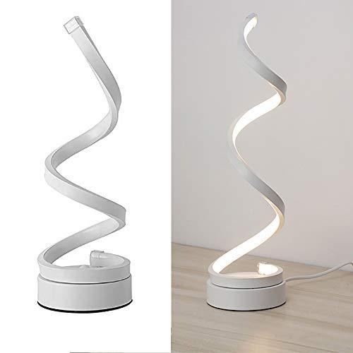 OurLeeme Lampada da tavolo a led moderna, lampada da comodino a LED a spirale 24W design minimalista lampada da lettura a LED in acrilico per camera da letto (Bianco freddo)