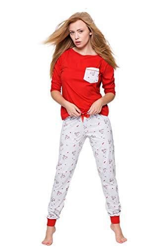 SENSIS eleganter Baumwoll-Pyjama Schlafanzug Hausanzug aus stillvollem Shirt mit niedlichem Print und gemütlicher Hose, Made in EU (L (40), rot/grau mit Rentier)
