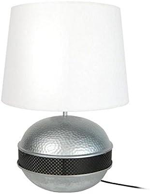 Tosel 64194 Armature luminaire, Tôle Acier repoussé, Peinture époxy, Abat. Coton, E27, 40 W, Aluminium/Noir, 40 x 60 cm