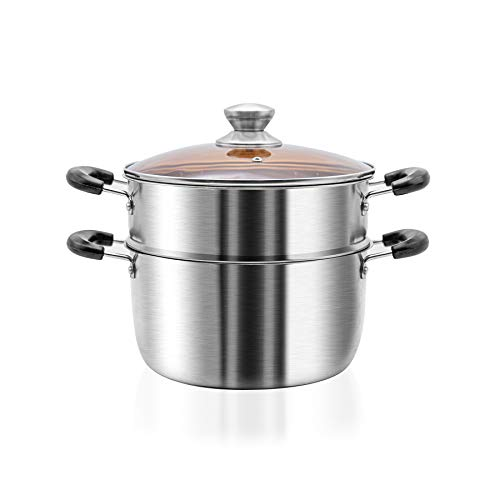 VENTION Stainless Steel Steamer Pot, 2 Tier Food Steamer with Basket, Double Layer Metal Cooking Steamer, Support for Stove and Induction, Ideal for Tamale, Vegetable, Dumpling and Seafood, 11 Quarts