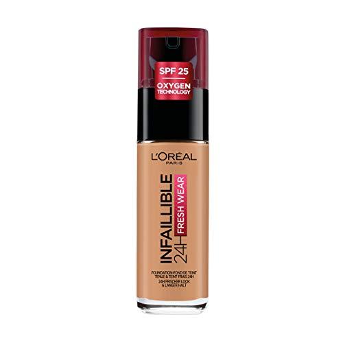 L'Oréal Paris Fondotinta Liquido Infaillible 24H Fresh Wear, A Lunga Tenuta, Protezione Solare SPF25, Ambre Doré (290), 30 ml