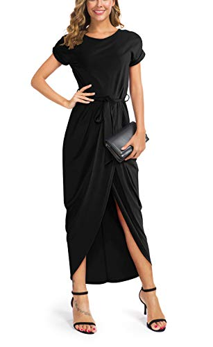 GRECERELLE Women's Short Sleeve Summer Dresses Elastic Waist Slit Casual Long Maxi Dress with Belt