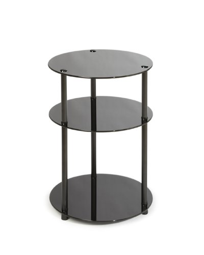 Convenience Concepts Designs2Go Midnight Classic 3-Tier Round Glass Side Table, Black Glass