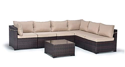 Gotland Outdoor Patio Furniture Set 7 Pieces Sectional Rattan Sofa Set Manual Wicker Patio Conversation Set with A Tempered Class Table and 6 Seat Cushions (Brown)