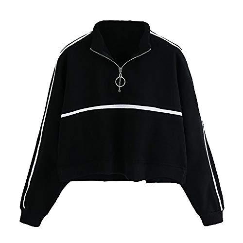 Felpe Corte Tumblr Ragazza Donna Collare Zip,Ragazza Felpa con Cappuccio Pullover Elegante Manica Lunga Crop Top Maglietta Cotone Camicette T-Shirt Yoga Fitness Calcio Sportiva Autunno