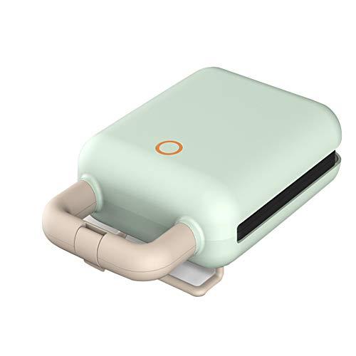 Kleine wafelijzer, Intelligent-temperatuur gecontroleerde Cloud-Wave warm ontbijt Machine, twee sets van de bakplaten, afneembaar en gemakkelijk te reinigen, geschikt voor wafels en sandwiches,Green