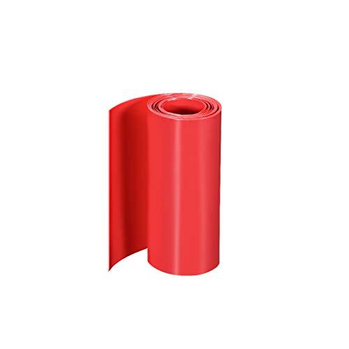 sourcing map PVC Wärmeschrumpfrohr Schrumpfschlauch 110mm Flache Wicklung für Doppelschicht 18650 2 Meter Rot