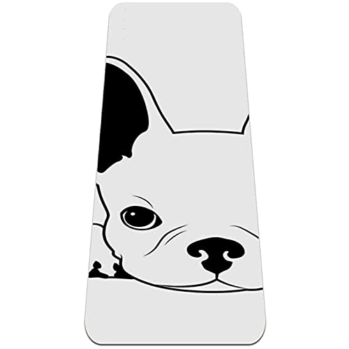 6mm Extra Thick Yoga Mat, French Bulldog On His Bed Print Eco-Friendly TPE Exercise Mats Pilates Mat with for Yoga, Workout, Core Fitness and Floor Exercises, Men & Women