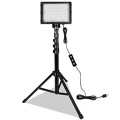 LARS360 2 luces LED para vídeo con trípode ajustable, filtro de color de 4 colores, luz de vídeo USB regulable, luz de fotografía para YouTube Studio