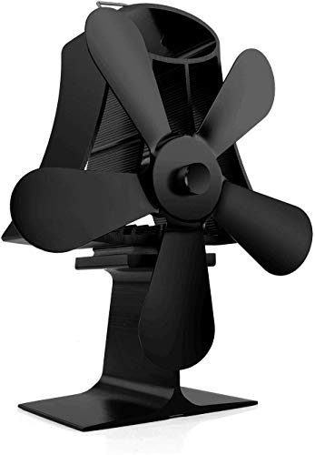 GKCI Stove Fan, 5-Blade Heat Powered Fireplace Fan,for Wood/Log Burner/Fireplace