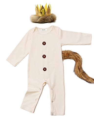Shalofer Baby Boys Girls Halloween Romper Lion Costume Outfits with Tail and Crown (Beige,12-18 Months)