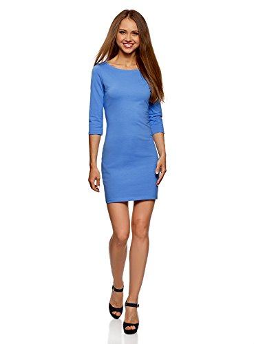 oodji Ultra Damen Baumwoll-Kleid Basic, Blau, DE 36 / EU 38 / S