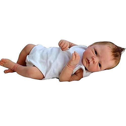 ZXYMUU Este Aspecto Genuino de 18 Pulgadas / 46 cm, bebé Realista, renacido, bebé, muñecas, niña, Cuerpo, Silicona, Silicona, recién Nacido bebé