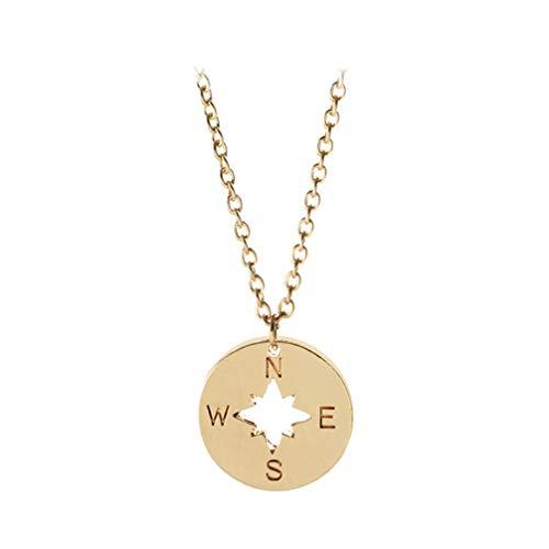 Holibanna Colar de amizade colar com bússola colar delicado para homens, mulheres, meninas, meninos e amigos presente (ouro)