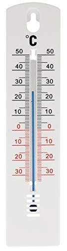 Lantelme Interior Exterior Jardín Termómetro 20 cm plástico blanco Temperatura Análogo -35 a +50 °C Pared de la casa 3188