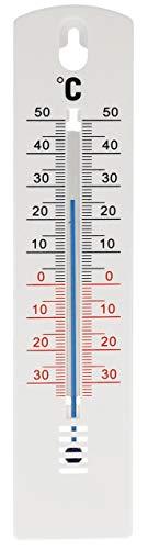 Lantelme Interior Exterior Jardín Termómetro 20 cm plástico blanco Temperatura Análogo -35 a +50 °C Pared de la casa...