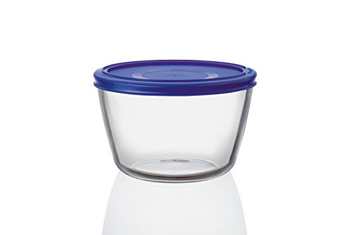Pyrex Cook n Fresh - Round Glass Storage Dish with Cobalt Blue Plastic Lid - 1.1L (Ø 15cm, Height 10cm)
