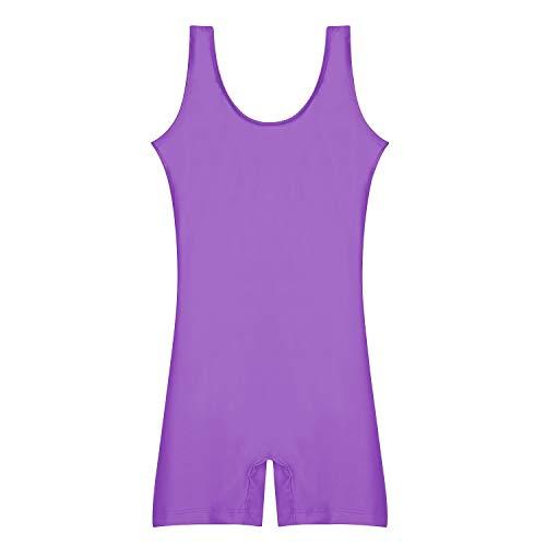 Speerise Girls Tank Dance Gymnastics Unitard Toddler Kids Biketard, Purple, 8-10