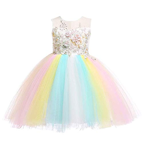 Weileenice Kids Halloween Cosplay Dress Flower Girl Pastel Tulle Lace Dresses 3D Embroidery Beading for Infant Toddler Girls Christmas Pageant Wedding Party Bridesmaid (5-6 Years, 9770-IY)
