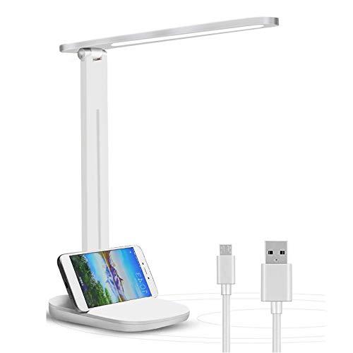 Schreibtischlampe LED, Tischlampe Dimmbare, Augenschutz Leselampe mit USB-Ladeanschluss, 3 Farb und 3 Helligkeitsstufen Touchfeldbedienung Tischleuchte für Büro und Haus
