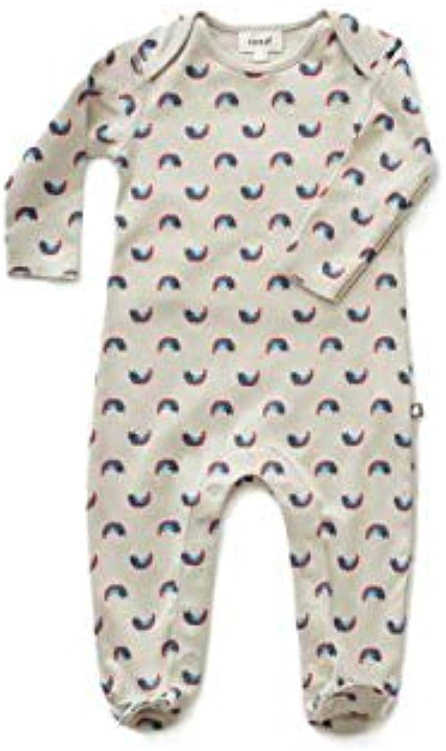 Oeuf Baby Clothes footie jumperlt. grey rainbow cats0 3M