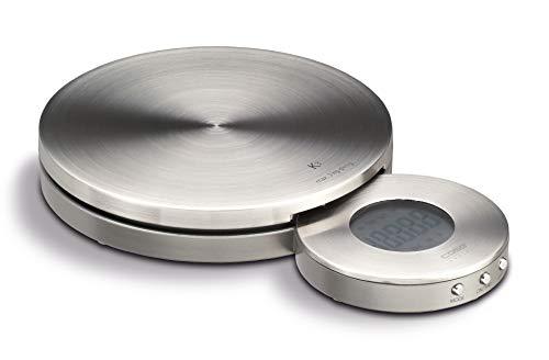 CASO K3 Design Küchenwaage, digitale Küchenwaage, Edelstahl-Oberfläche, sehr genauer Belastungssensor, Wiegeskala bis 3kg in 1g-Schritten, gleichzeitig Timer und Uhr